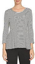 CeCe Round Neck 3/4 Sleeve Scalloped Jacquard Knit Swing Top