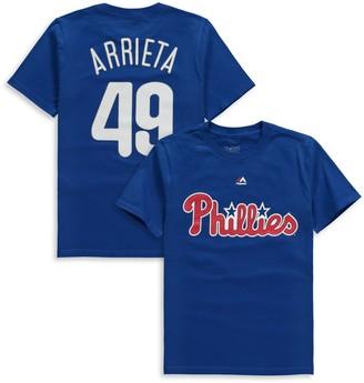 Majestic Youth Jake Arrieta Royal Philadelphia Phillies Name & Number T-Shirt