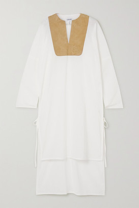 Loewe Suede-trimmed Cotton-gauze Tunic - White