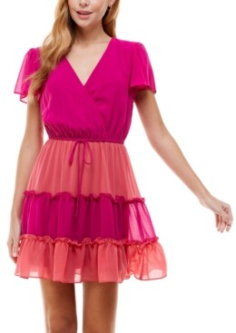 City Studios Juniors' Colorblocked Tiered Dress