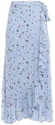 Ganni Floral-print Crepe De Chine Wrap Skirt