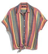 Madewell Rainbow Stripe Tie Front Shirt