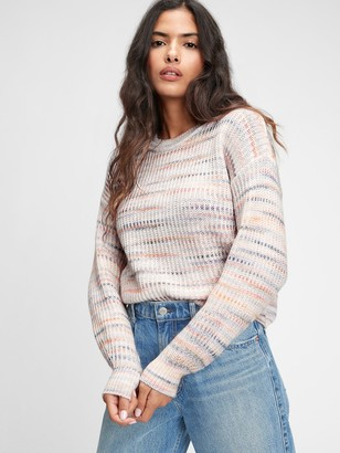 Gap Shaker Crewneck Spacedye Sweater