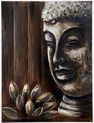 Uma Enterprises Lotus & Buddha Painting Metallic Wall Art