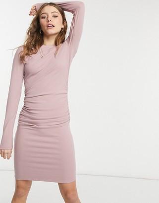 NA-KD ruched rib jersey mini dress in dusty pink