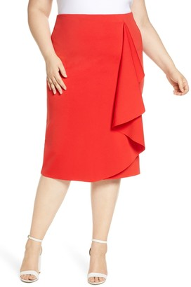 ELOQUII Drama Ruffle Scuba Skirt (Plus Size)