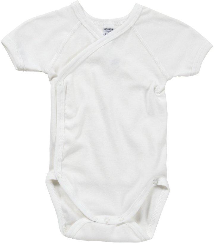 Petit Bateau S/S Crossover Bodysuit - White-NB
