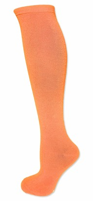 Neon Nation Solid Color Knee High Tube Socks with No Stripes (Neon Orange)
