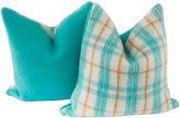 One Kings Lane Vintage Wool Plaid/Solid Camp Blanket Pillow, Pr