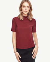 Ann Taylor Elbow Sleeve Mock Neck Tee