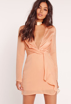 Missguided Silky Plunge Wrap Shift Dress Nude