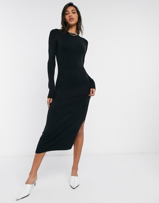 French Connection Babysoft Crew Neck Maxi Dress in Black
