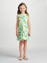 Oscar de la Renta Painted Lemons Cotton Drop Waist Dress