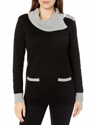 Chaus Women's Long Sleeve Two Pocket Colorblock Cowl Sweater