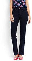 Lands' End Women's Petite Mid Rise Straight Leg Jeans-Dark Indigo Wash