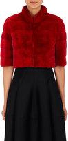 J. Mendel Women's Mink Fur Bolero Jacket-RED