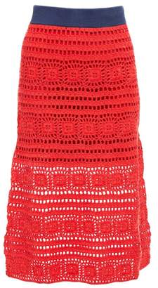 STAUD Marlin Cotton Crochet Midi Skirt - Womens - Red Multi