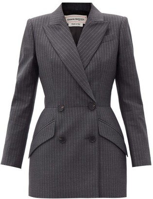 Alexander McQueen Double-breasted Lurex-pinstriped Wool Suit Jacket - Grey