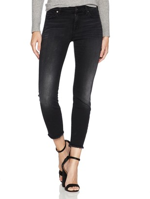 7 For All Mankind Women's High Waist Gwenevere Skinny Jean in Black Bay Ocean