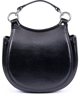 behno Tilda Lizard Embossed Leather Saddle Crossbody Bag