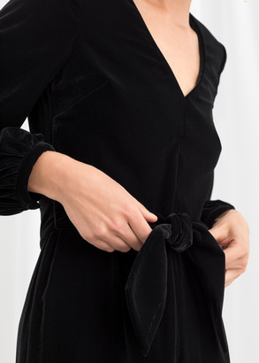 And other stories Plunging Velvet Jumpsuit