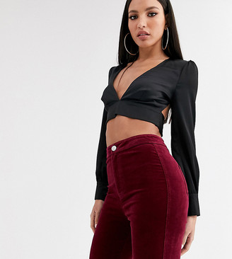 Asos Tall DESIGN Tall Rivington high waist jeggings in oxblood velvet-Purple