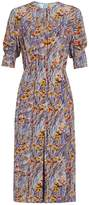 Prada Abstract and floral-print silk-crepe dress