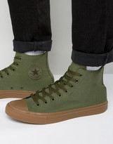 Converse Chuck Taylor All Star Ii Hi Plimsolls With Gum Sole In Green 155498c