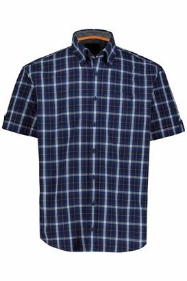 JP 1880 Men's Big & Tall Checked Shirt Indigo Blue XXX-Large 726829 72-3XL
