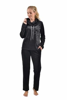 UK 6-20 Women 2PCS Tracksuit Loungewear Hoodies Coat+Trousers Zip Loose Leopard