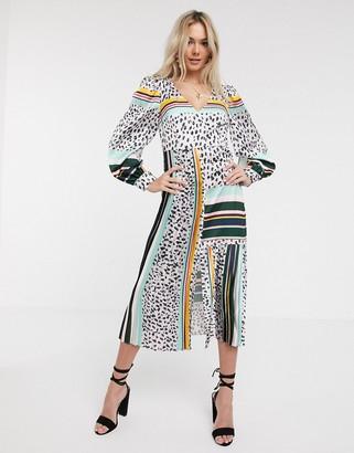 Liquorish midi dress with pleat detail in multi print