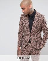 Noose & Monkey Super Skinny Suit Jacket In Floral