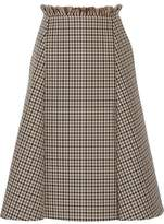 Nina Ricci Frayed Checked Wool Skirt