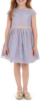 Laura Ashley Embroidered Mesh Dress (Toddler & Little girls)