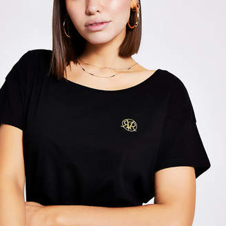 River Island Black RVR scoop neck slouch fit T-shirt