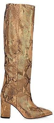 Paris Texas Women's Knee-High Python-Embossed Lamé Leather Boots