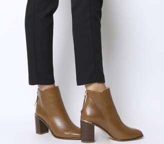 Office Adelle Square Toe Block Heels Tan Leather