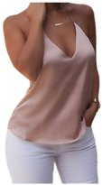 BellyAnna Women Sexy Backless Silk Casual Tank Tops Cami (M)