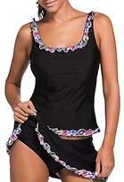 Eternatastic Women's Tankini Swimwear Two Pieces Swimsuit Set Fancy Lace Trimmed XXL