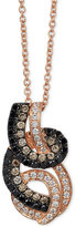 LeVian Le Vian Exotics® Tri-Tone Diamond Swirled Pendant Necklace (1/2 ct. t.w.) in 14k Rose Gold