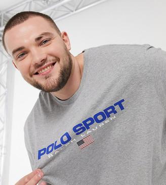 Polo Ralph Lauren Big & Tall sport capsule flag logo t-shirt in gray marl