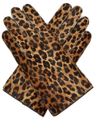 Raf Simons Leopard-print Calf-hair Gloves - Womens - Leopard