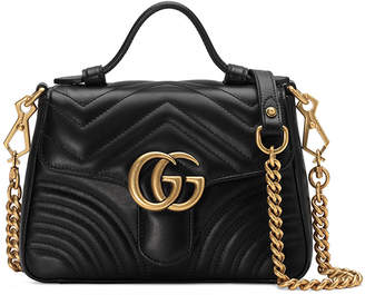 Gucci GG Marmont Mini Chevron Leather Satchel Bag