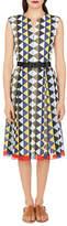Akris Sleeveless Diamond-Stripe Cotton-Voile A-Line Midi Dress