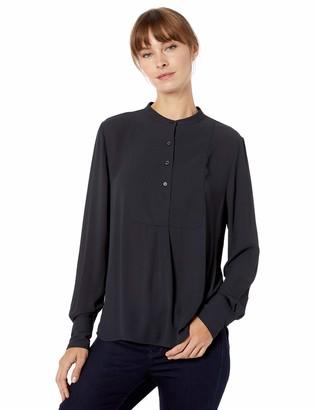 Lark & Ro Amazon Brand Women's Long Sleeve Tuxedo Bib Woven Blouse