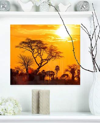 """Designart 'Orange Glow Of African Sunset' Extra Large Wall Art Landscape - 20"""" X 12"""""""