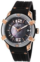 Elini Barokas Women's 'Spirit' Swiss Quartz Stainless Steel and Silicone Automatic Watch, Color:Black (Model: 20005-RG-01-SRB)