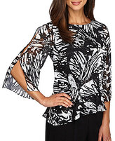 Alex Evenings Printed Chiffon Tiered Blouse