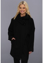 Betsey Johnson Buttoned Cape (Black) - Apparel