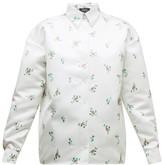 Rochas Floral-print Duchess-satin Shirt - Womens - White